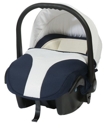 Кошче за бебета за кола Baby Merc Style тъмно синьо с бяло - Бебешки колички - Кошчета за кола