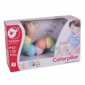 Многоцветна дървена гъсеница - чупеща се - Детски играчки - Дървени играчки