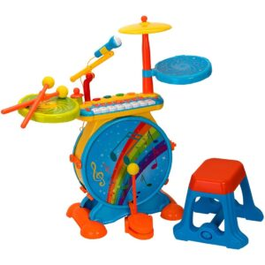Музикален комплект - Барабани с пиано, столче и микрофон - Детски играчки - Музикални инструменти