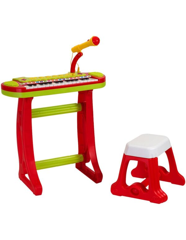 Музикален комплект - Пиано с микрофон и столче - Детски играчки - Музикални инструменти