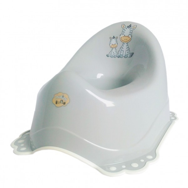 Музикално детско гърне Zebra, гумирано сиво - За бебето - Детска и бебешка тоалетна - Гърнета