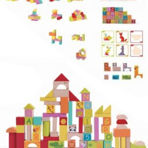 Образователен конструктор с различни видове дървени блокчета - Детски играчки - Образователни играчки - Дървени играчки
