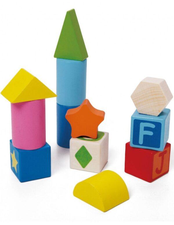 Образователни дървени блокчета - 56 части - Детски играчки - Образователни играчки - Дървени играчки
