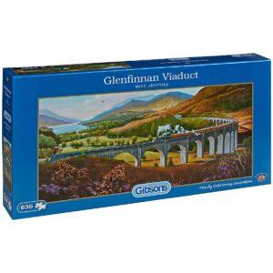 Панорамен пъзел Gibsons от 636 части – Виадуктът Гленфинън, Майк Джефрис - Пъзели