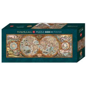 Панорамен пъзел Heye от 6000 части - Карта на полукълбата - Пъзели