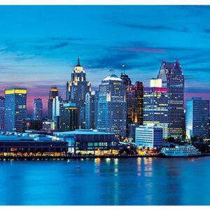 Панорамен пъзел Master Pieces от 1000 части - Детройт, Мичиган - Пъзели