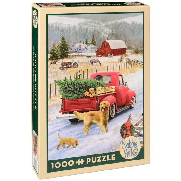 Пъзел Cobble Hill от 1000 части - Коледа във фермата - Пъзели