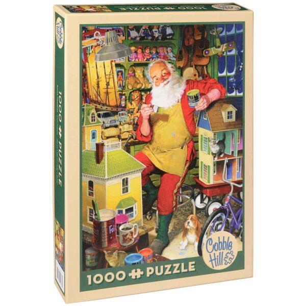 Пъзел Cobble Hill от 1000 части - Работилницата на Дядо Коледа, Том Нюсъм - Пъзели