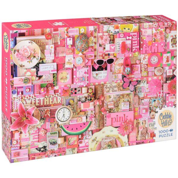 Пъзел Cobble Hill от 1000 части - Розово, Шели Дейвис - Пъзели