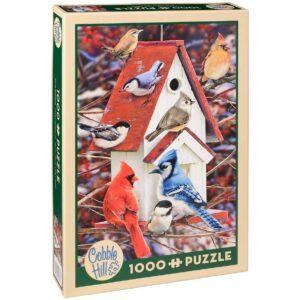 Пъзел Cobble Hill от 1000 части - Зимна къщичка за птици, Грег Джордано - Пъзели