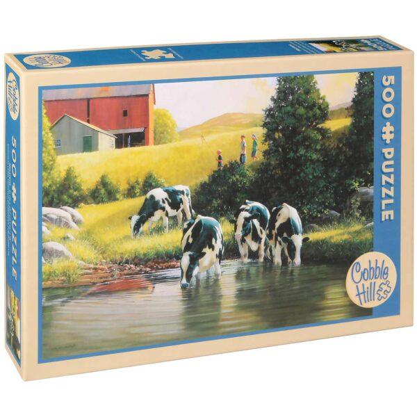Пъзел Cobble Hill от 500 части - Кравите холщайн, Дъглас Лейрд - Пъзели