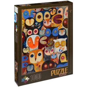 Пъзел D-Toys от 1000 части – Бухали, Андреа Кюрти II - Пъзели