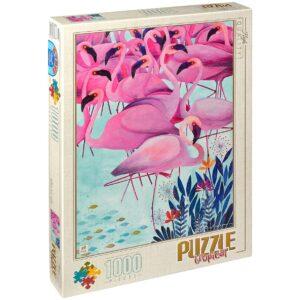 Пъзел D-Toys от 1000 части – Фламингота, Андреа Кюрти - Пъзели