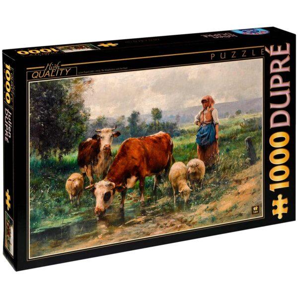 Пъзел D-Toys от 1000 части - Овчарка със своето стадо, Жулиен Дюпре - Пъзели