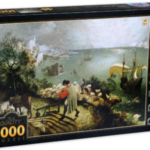 Пъзел D-Toys от 1000 части - Пейзаж с падането на Икар, Питер Брьогел Стари - Пъзели