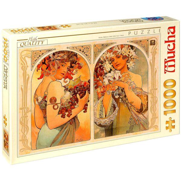 Пъзел D-Toys от 1000 части – Плод и цвете, Алфонс Муха - Пъзели