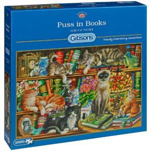 Пъзел Gibsons от 1000 части - Котета върху книги, Джудит Йейтс - Пъзели