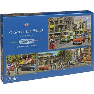 Пъзел Gibsons от 4 x 500 части – Градовете по света, Кевин Уолш - Пъзели