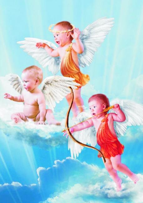 Пъзел Gold Puzzle от 1000 части - 3 малки ангелчета - Пъзели