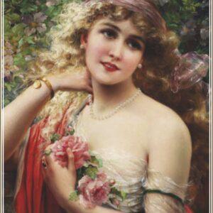 Пъзел Gold Puzzle от 1000 части - Млада дама с роза - Пъзели