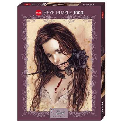 Пъзел Heye от 1000 части - Черна роза, Виктория Франсес - Пъзели
