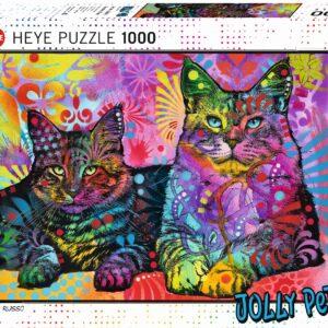 Пъзел Heye от 1000 части - Две отдадени котки, Дийн Русо - Пъзели