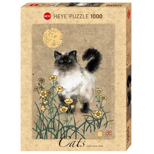 Пъзел Heye от 1000 части - Котка на поляната, Джейн Краутър - Котки - Пъзели