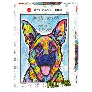 Пъзел Heye от 1000 части - Кучетата никога не лъжат, Дийн Русо - Пъзели