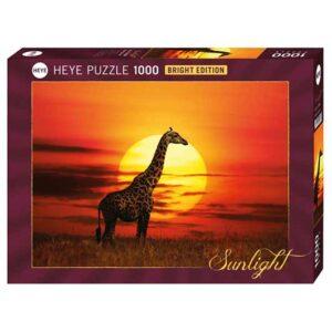 Пъзел Heye от 1000 части - Слънчев жираф, Слънчева светлина - Пъзели