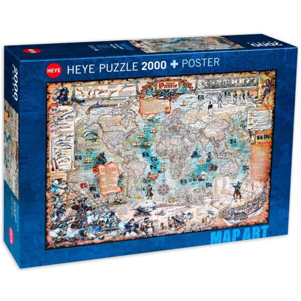 Пъзел Heye от 2000 части - Карта на пиратския свят - Пъзели