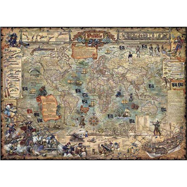 Пъзел Heye от 2000 части - Пиратска карта на света - Пъзели