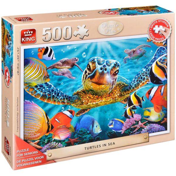 Пъзел King от 500 XXL части - Костенурки в морето, Стив Съндрам - Пъзели