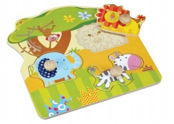 Пъзел с диви животни - Детски играчки - Пъзели - Дървени играчки - Пъзели