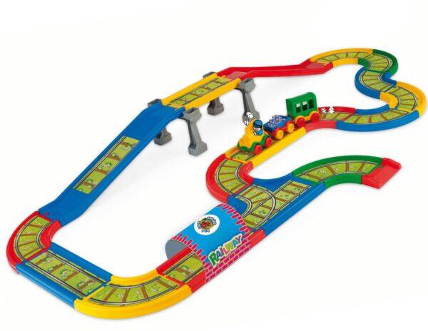 Голяма детска писта с железопътни релси с колички - Детски играчки - Детски гаражи и писти
