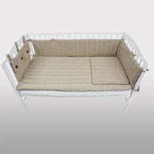 Плетен комплект за бебешко креватче бежов - За бебето - Аксесоари за детска стая - Обиколници за кошара