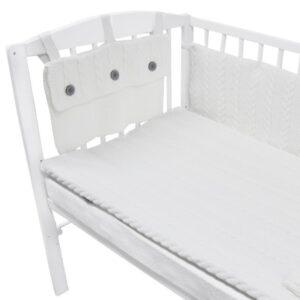 Плетен комплект за бебешко креватче бял - За бебето - Аксесоари за детска стая - Обиколници за кошара