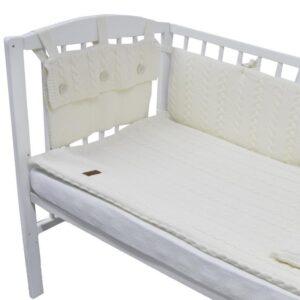 Плетен комплект за бебешко креватче екрю - За бебето - Аксесоари за детска стая - Обиколници за кошара