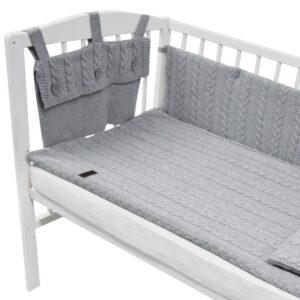 Плетен комплект за бебешко креватче сив - За бебето - Аксесоари за детска стая - Обиколници за кошара
