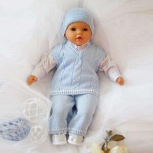 Плетен комплект за момченца - За бебето - Аксесоари за детска стая - Дрешки за специални случаи