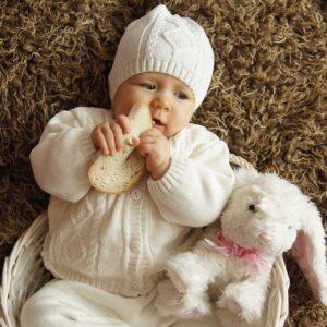 Плетен коплект от органичен памук - За бебето - Аксесоари за детска стая - Дрешки за специални случаи