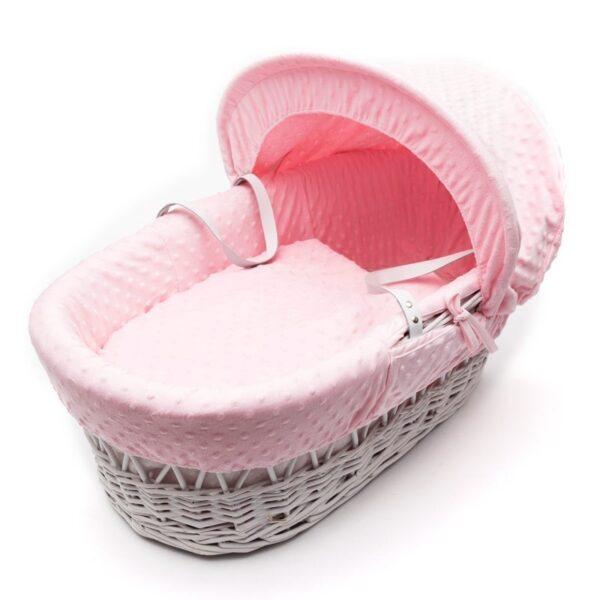 Плетена бебешка кошница със сенник - розова - За бебето - Плетени кошчета за бебе