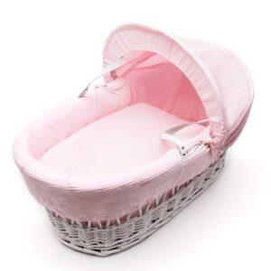 Плетена бебешка кошница със сенник - светло розова - За бебето - Плетени кошчета за бебе