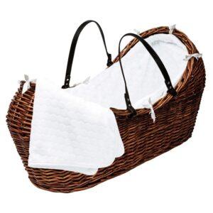 Плетено бебешко кошче - кафяво - За бебето - Плетени кошчета за бебе
