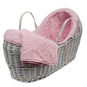 Плетено бебешко кошче с обиколник - За бебето - Плетени кошчета за бебе