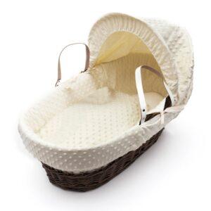Плетено бебешко кошче със сенник - кремаво - За бебето - Плетени кошчета за бебе