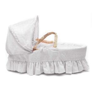Плетено кошче за новородено, Бяла Английска бродерия - За бебето - Плетени кошчета за бебе