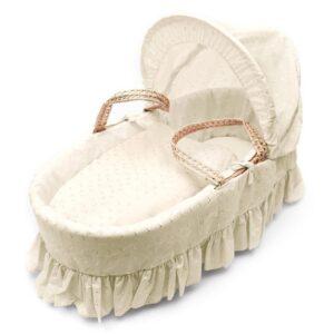 Плетено кошче за новородено - кремава английска бродерия - За бебето - Плетени кошчета за бебе