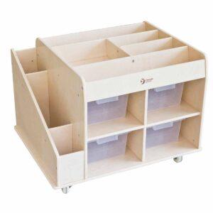 Подвижен дървен стелаж за играчки - Мебели и играчки за детски градини и центрове - Мебели за детски градини и центрове