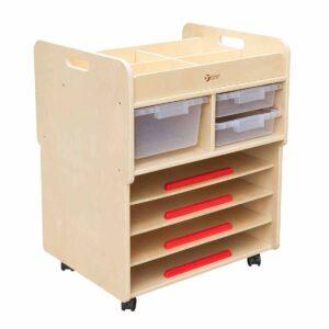 Подвижен шкаф за съхранение на рисунки и пособия за рисуване - Мебели и играчки за детски градини и центрове - Мебели за детски градини и центрове - Творческо и музикално обучение за деца