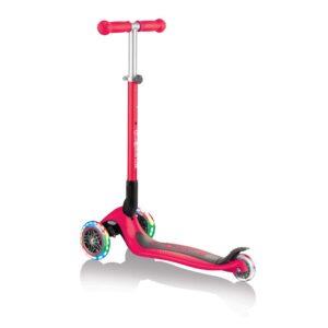 Сгъваема тротинетка със светещи гуми Globber Primo Foldable Lights, Червена - Тротинетки - Играчки за навън - Тротинетки с 3 колела за деца